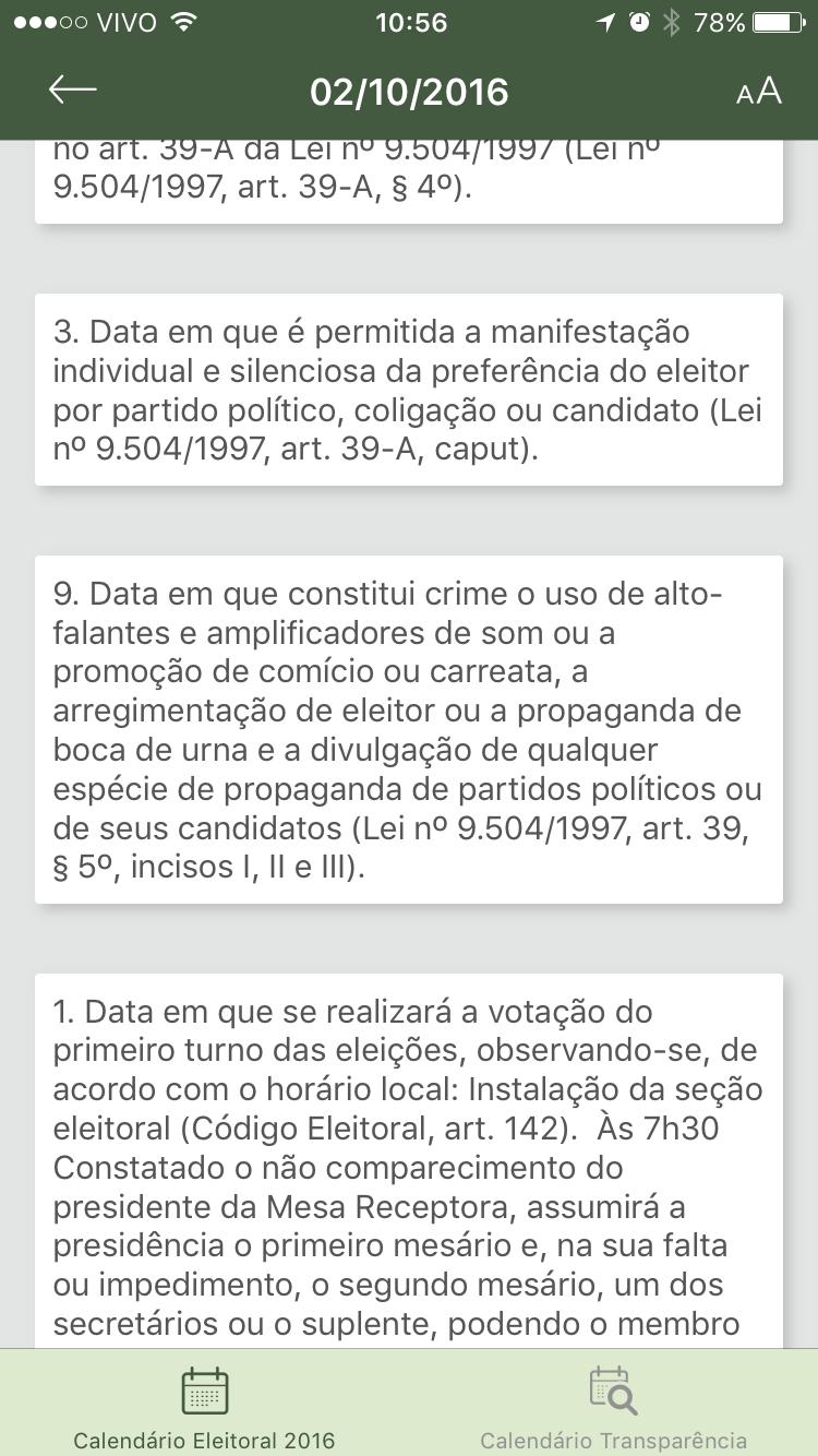 Print do app Agenda JE para iOS.