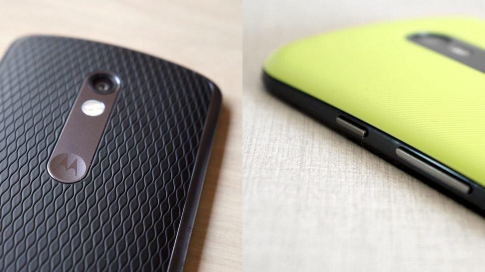 Montagem com fotos do Moto X Play e Moto G de terceira geração.