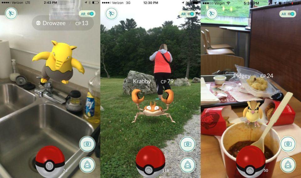 Prints de Pokémon Go na tela de captura com realidade aumentada.