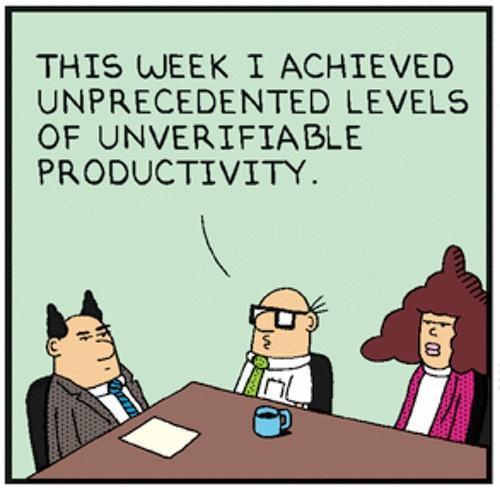 Tirinha do Dilbert sobre produtividade.