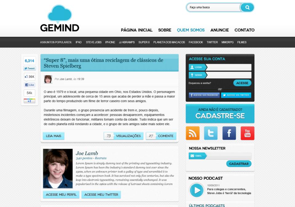 Prévia do layout do Gemind.