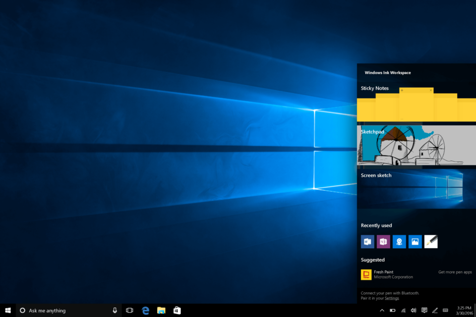 Barra lateral do Windows Ink no Windows 10 Anniversary Update.