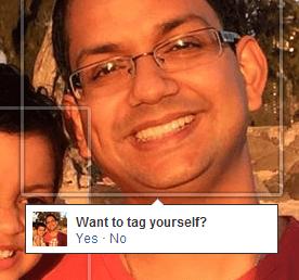 Popup em foto no Facebook sugerindo marcação de pessoa.