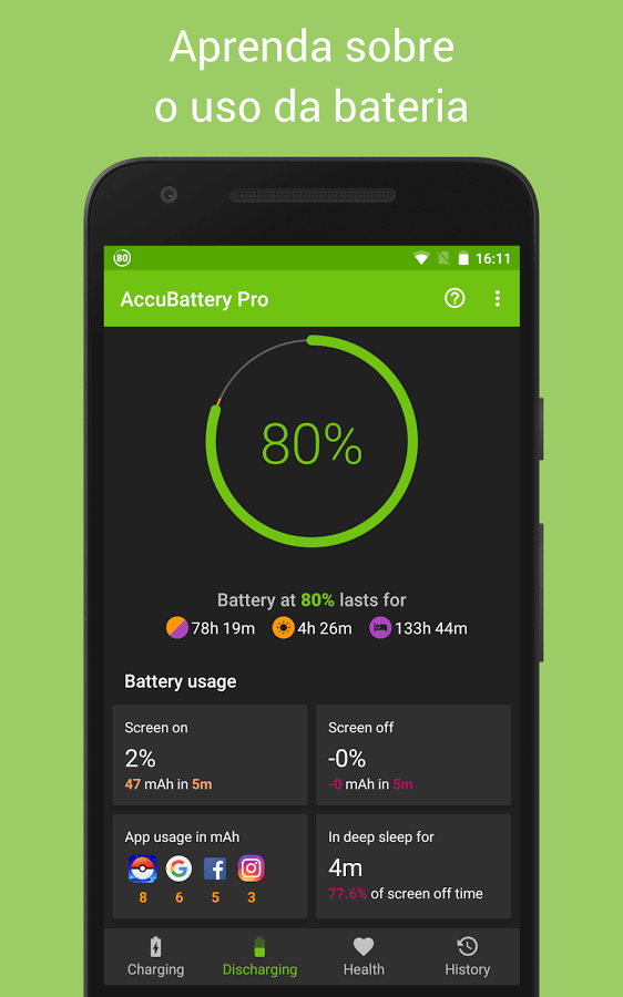 Print do AccuBattery para Android.