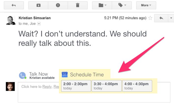 Print de uma mensagem de e-mail com horários para marcar reunião pré-determinados.