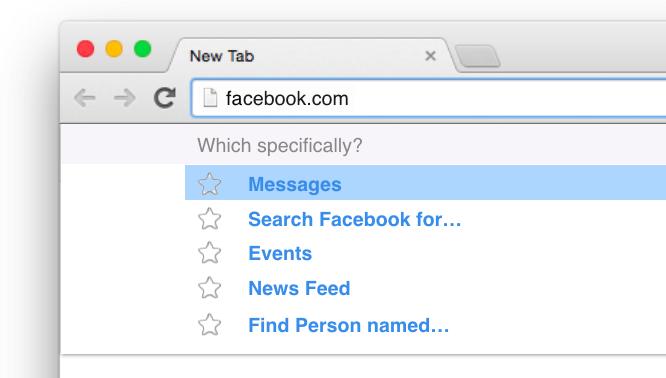 Montagem da barra de endereços do navegador Chrome com atalhos diretos para partes do Facebook.