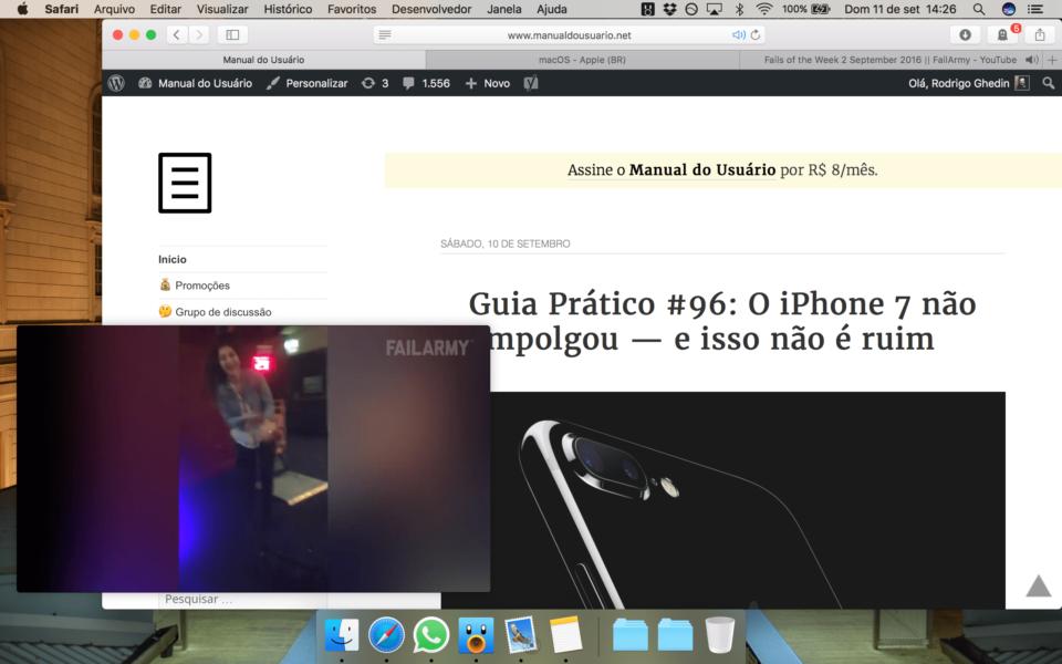 PIP do YouTube no Safari do macOS.