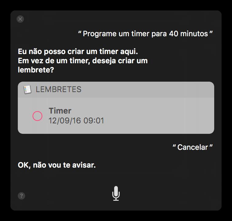 Siri responde que não consegue criar um timer no macOS.