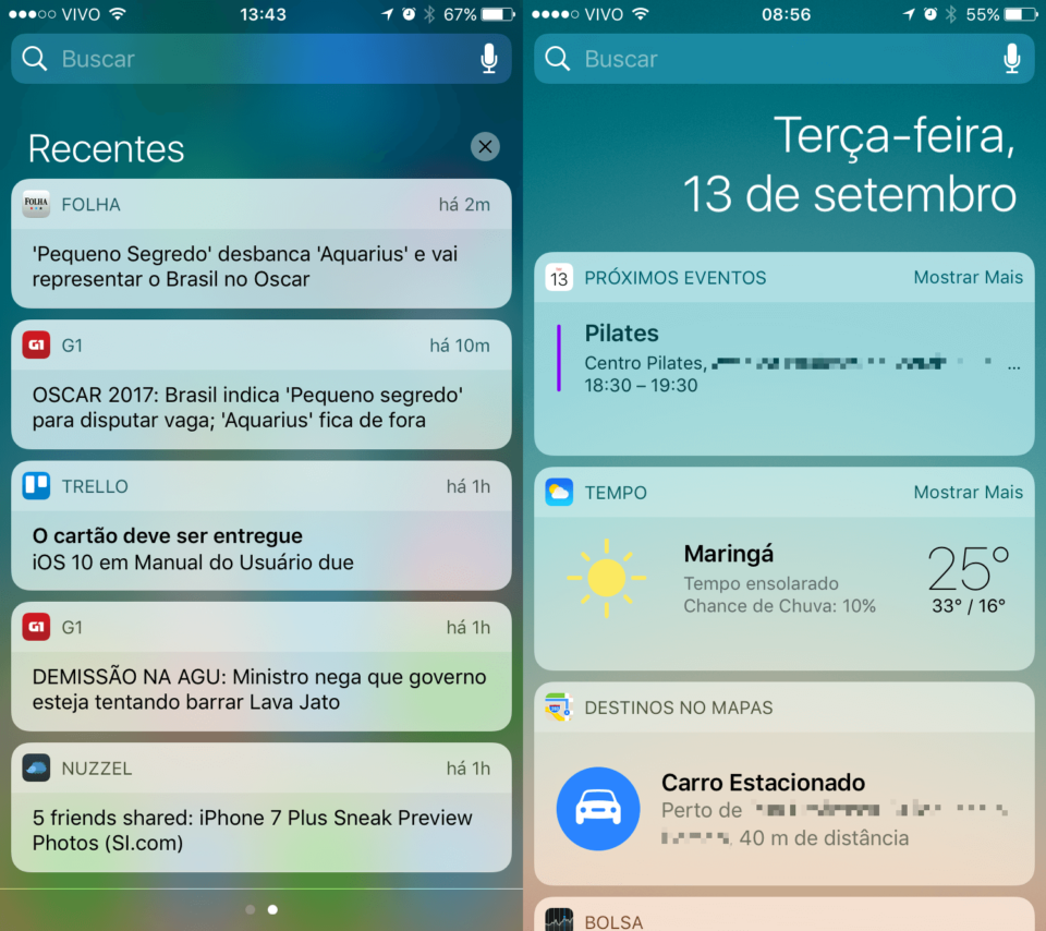 Exemplos do uso de cartões na interface do iOS 10.