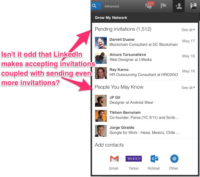 Convites recebidos e sugestões de contatos bem próximos no LinkedIn.