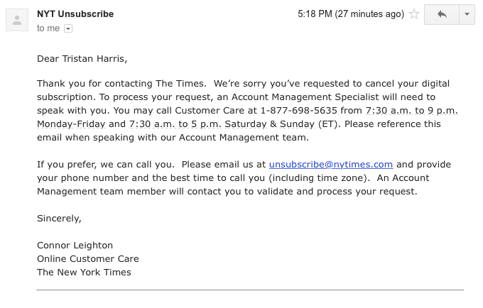 E-mail de cancelamento da conta digital do New York Times.