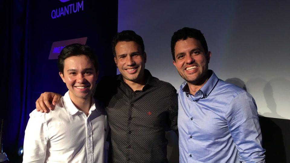 Os três fundadores da Quantum no lançamento do Quantum Fly.