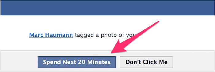 Montagem mostrando o real custo de um clique em notificação do Facebook (20 minutos).