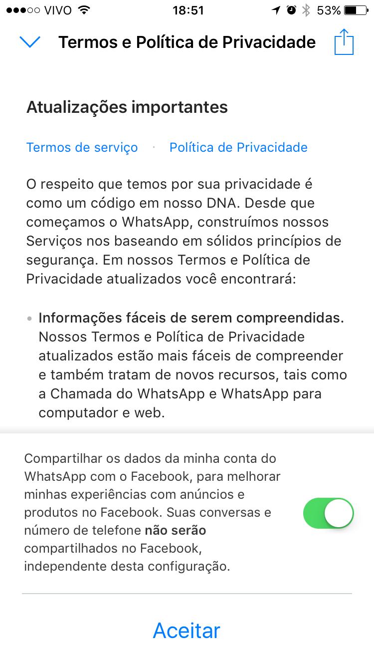 Alterações no WhatsApp sendo exibidas na tela.