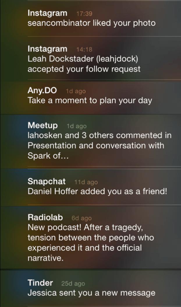 Colagem de notificações da tela de bloqueio de um iPhone.