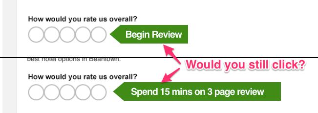 Pedido de avaliação do Trip Advisor que esconde uma pesquisa enorme atrás de uma opção.