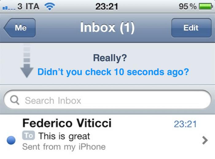 Edição de print de um app de e-mail com mensagem censurando a ansiedade do usuário.