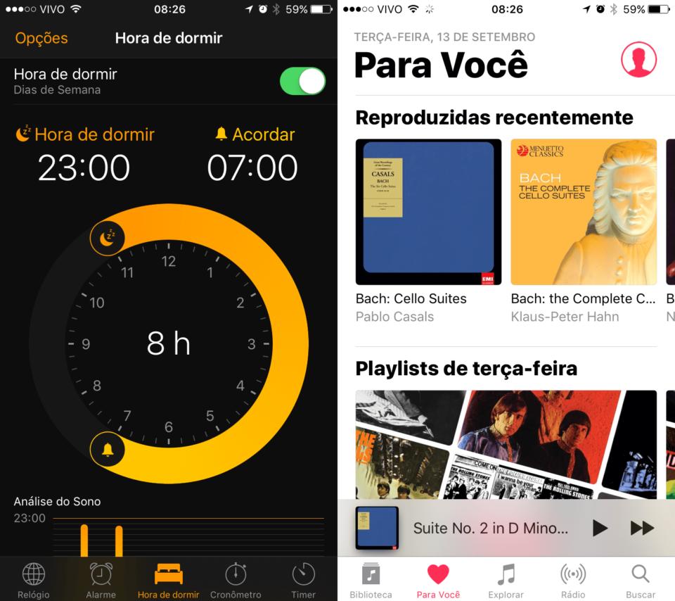 Novos visuais dos apps Relógio e Apple Music.