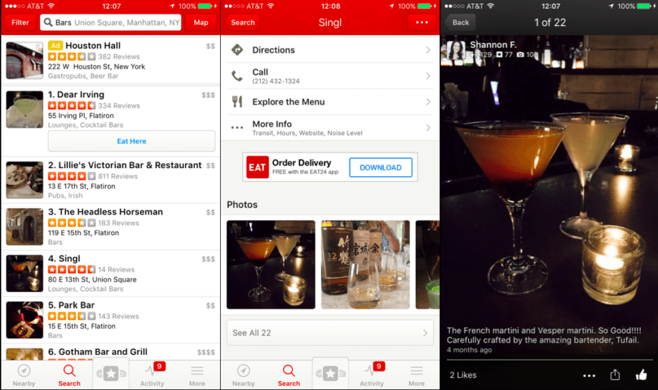 Prints do app Yelp colados lado a lado.