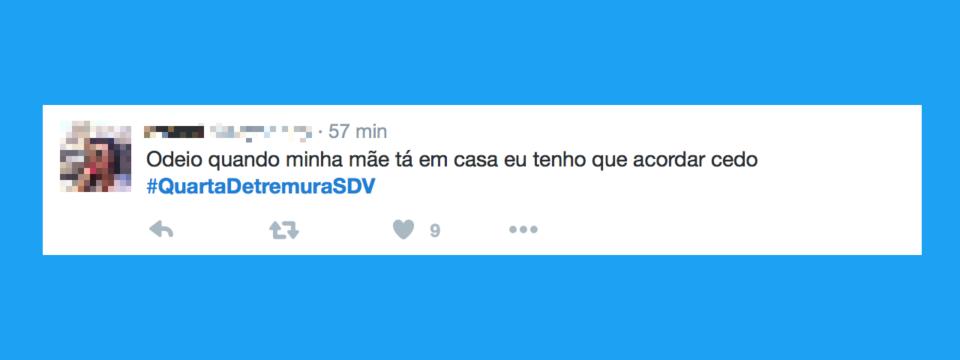 Tuíte com uma das hashtags SDV de Denise Tremura.