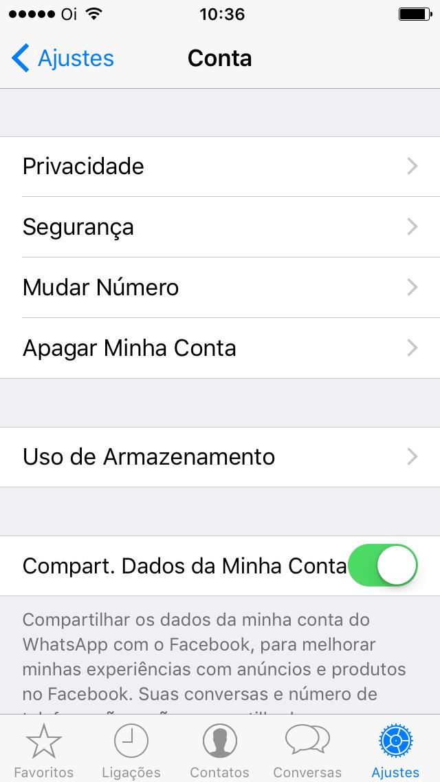 Configurações da conta do WhatsApp com o compartilhamento com o Facebook ligado.