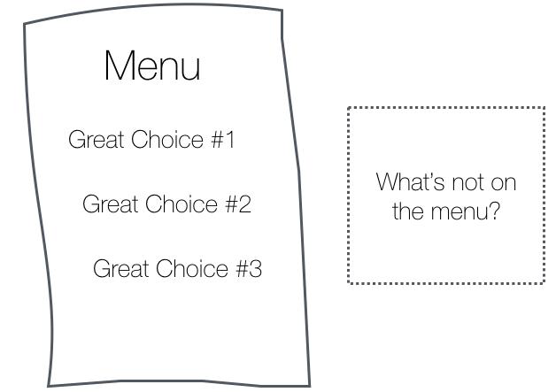Desenho de um menu com escolhas e uma caixa ao lado questionando o que não há nele.