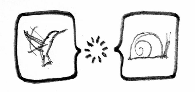 Beija-flor e lesma representando Fast Web e Slow Web.