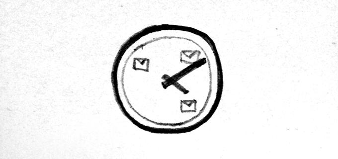 Relógio com cartas no lugar dos números.