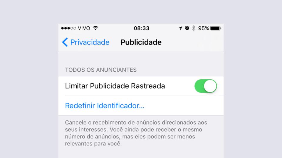 Opção do iOS 10 limita anúncios baseados em comportamento.