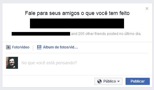 Caixa de pressão social do Facebook.