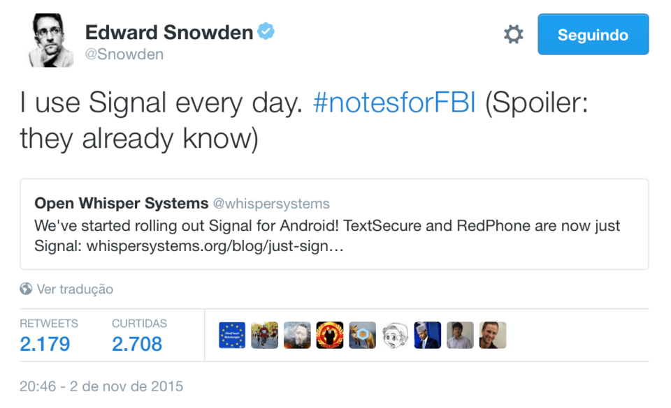 Tweet de Edward Snowden (@Swnoden) endossando o Signal.