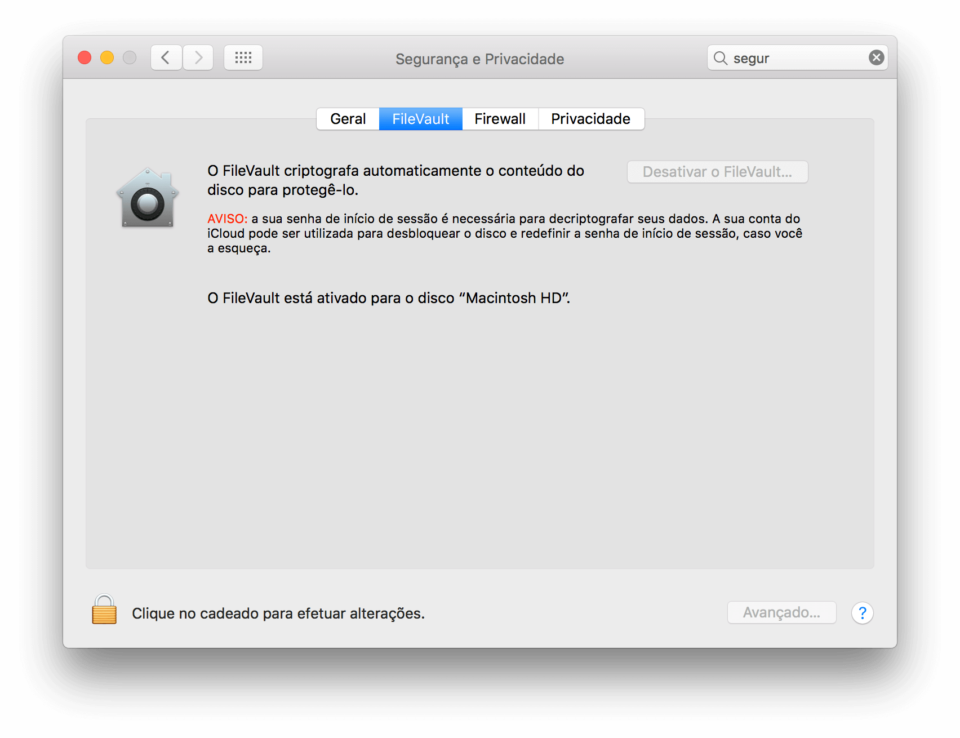 Janela do FileVault, criptografia de disco do macOS.