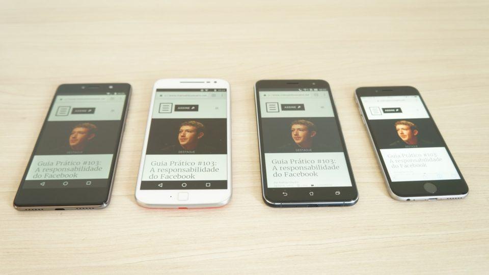 Smartphones com as telas ligadas, lado a lado.
