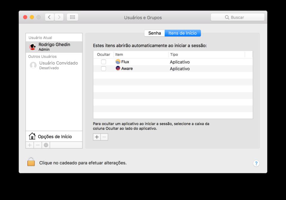 Configuração dos apps que iniciam junto ao macOS.