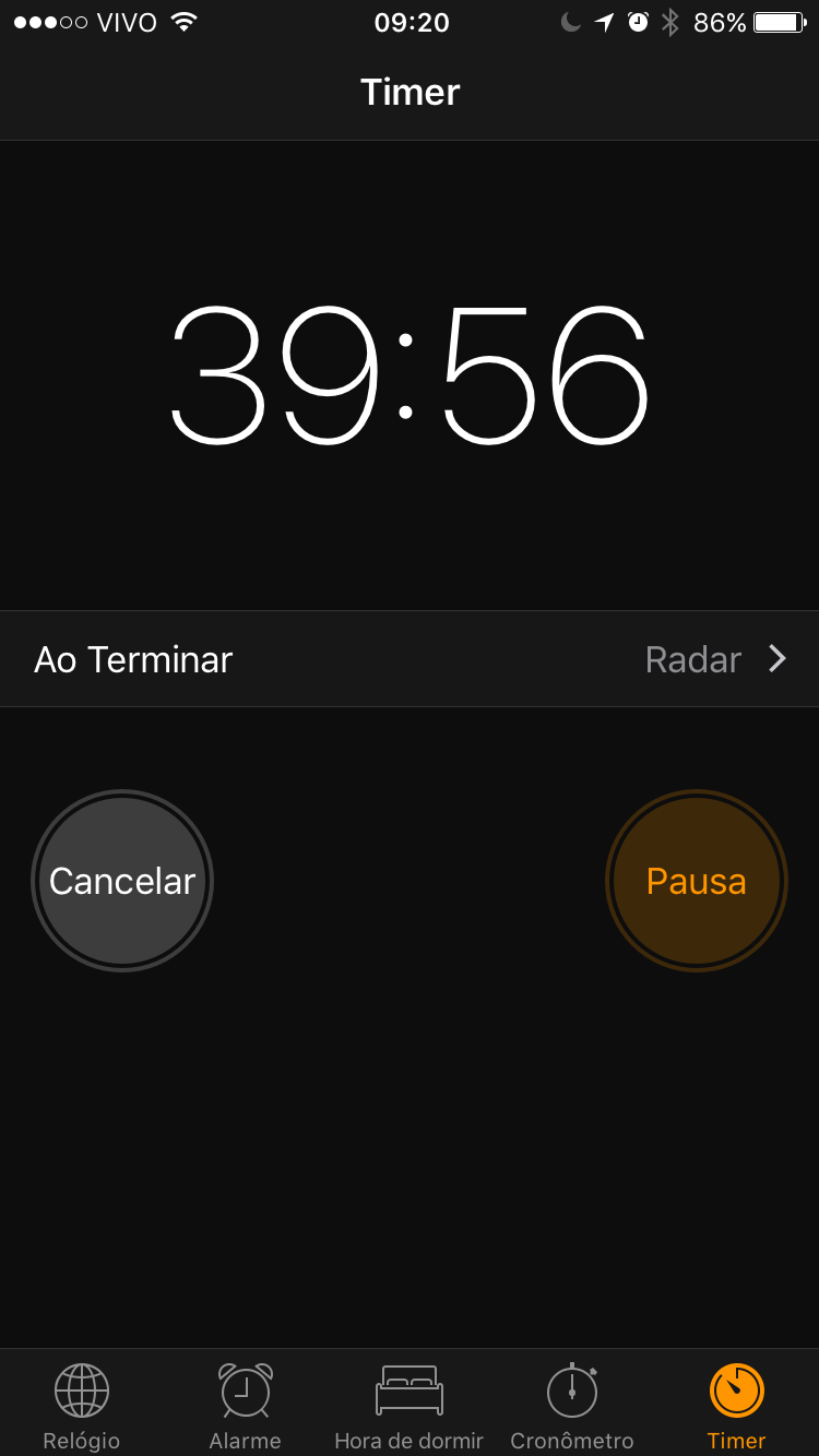 Timer no app de relógio do iOS.