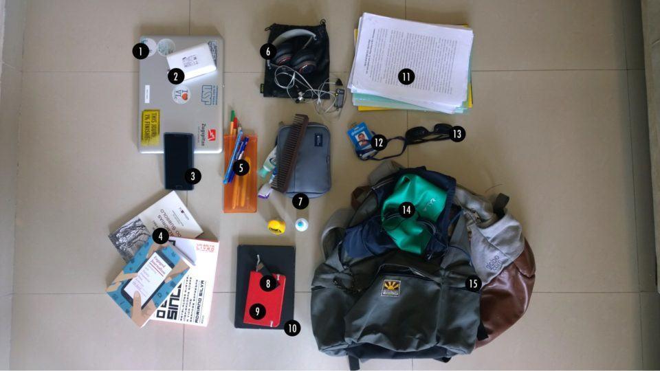 O que tem na mochila do Fabrício Vitorino.