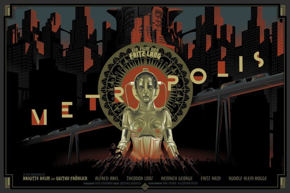 Pôster colorido de Metropolis.