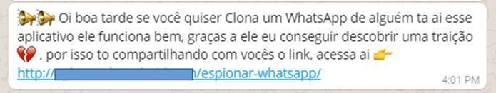 Outro golpe promete clonar WhatsApp de terceiro.