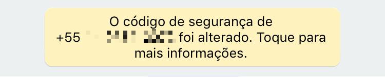 Notificação de troca de chave no WhatsApp.
