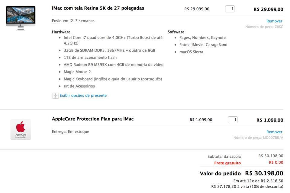 iMac topo de linha cotado na Apple Store online.