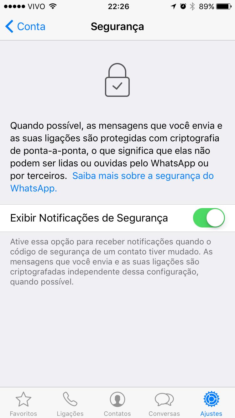 Tela para ativar notificações de segurança no WhatsApp.