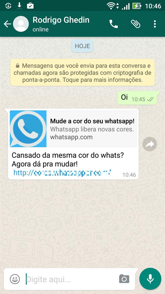 Link para golpe do WhatsApp colorido.