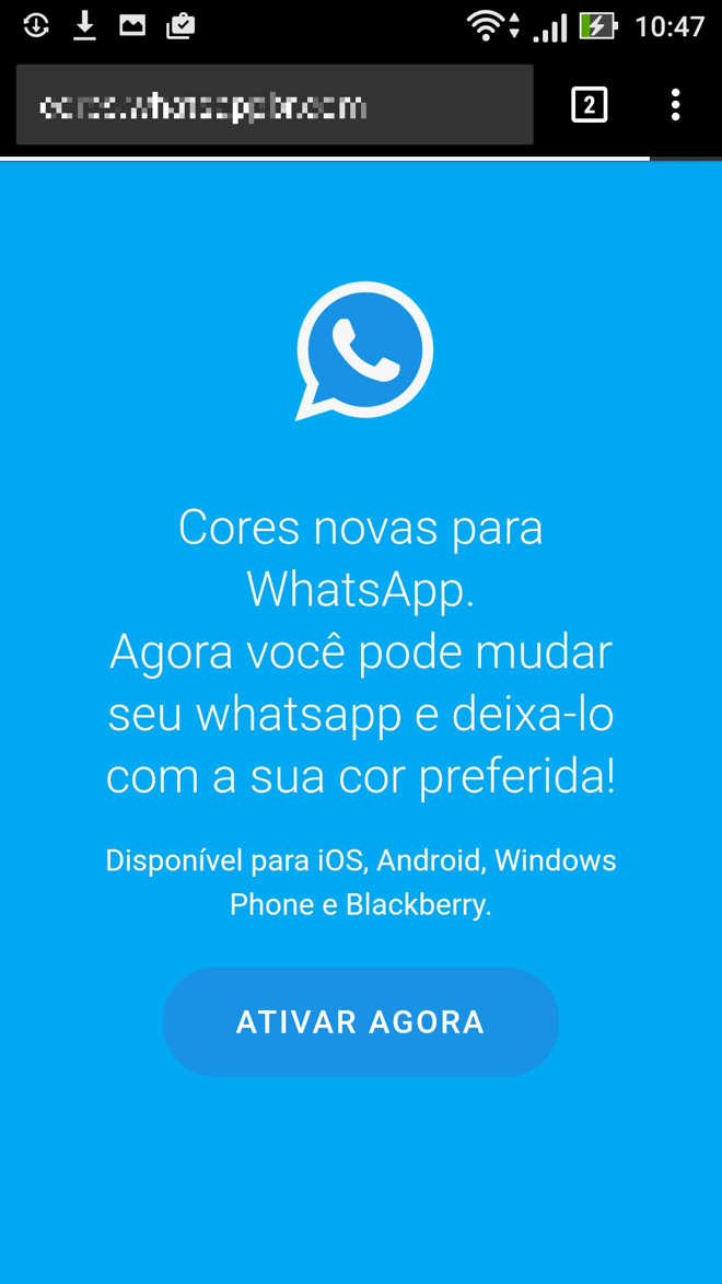 Site do WhatsApp colorido.