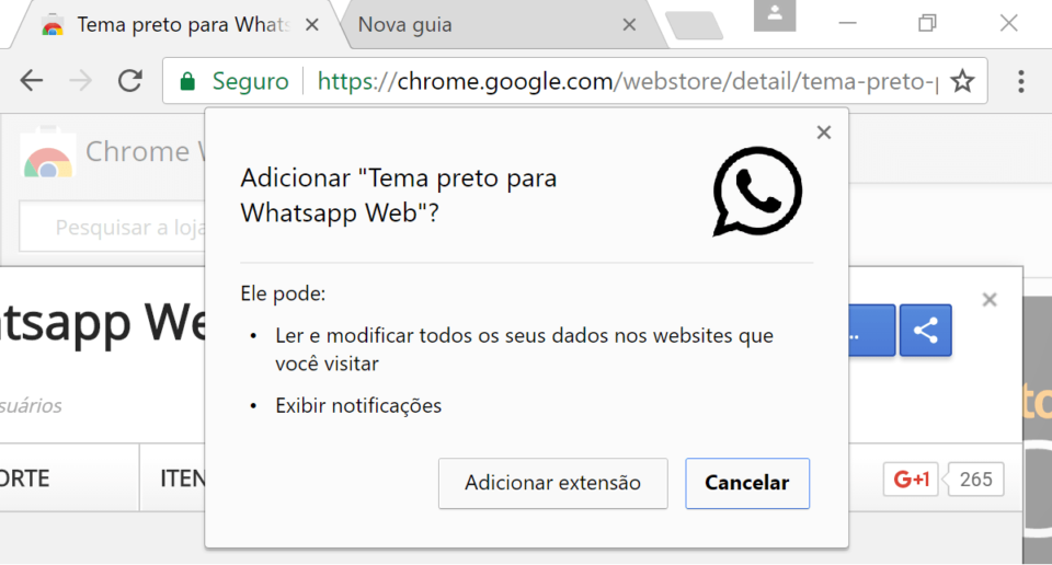 As permissões que o tema preto do WhatsApp exige no Chrome.