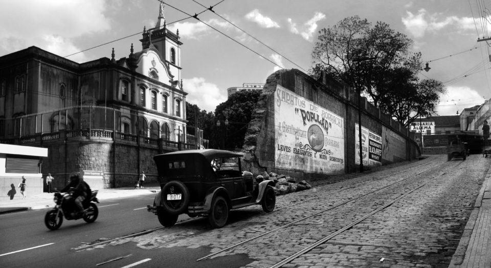 Fotos sobrepostas da São Paulo antiga com a São Paulo contemporânea, metrópole.