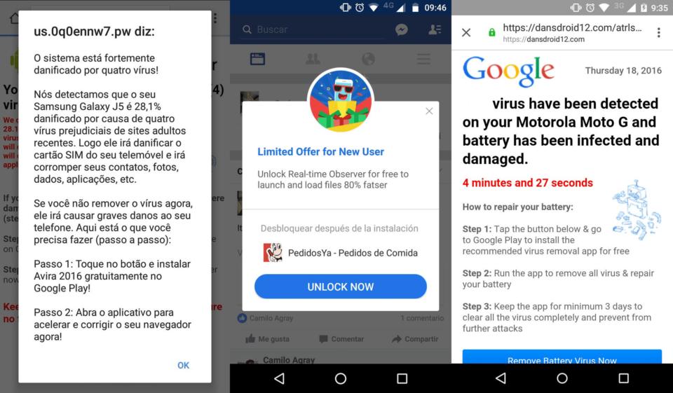 Alertas de supostos vírus no Android.