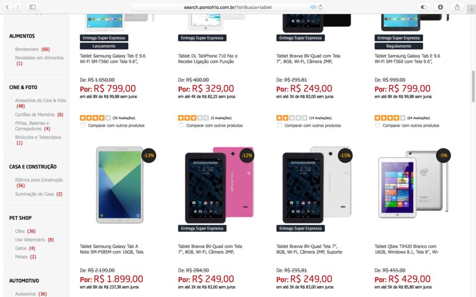 Tablets à venda no Brasil.