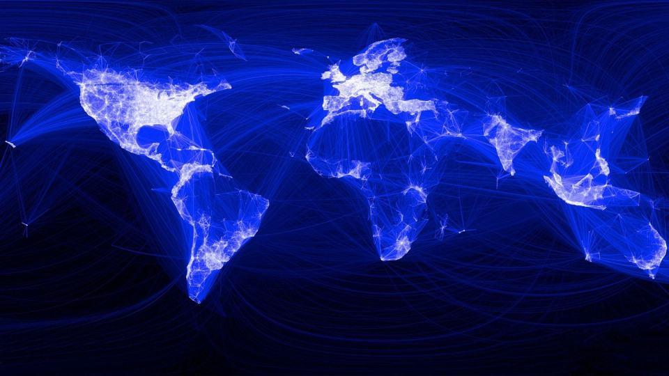 Mapa global de conexões a partir do Facebook.