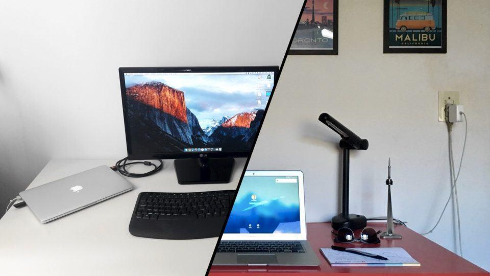 Montagem com as mesas de trabalho do Igor e do Celso.