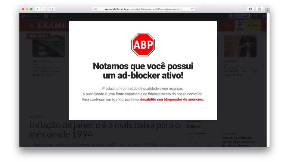 Esta notícia no site da Exame mostra por que bloqueadores de anúncios são essenciais